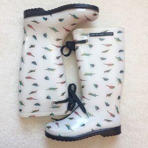 Marc Jacobs bird print rubber rain boots